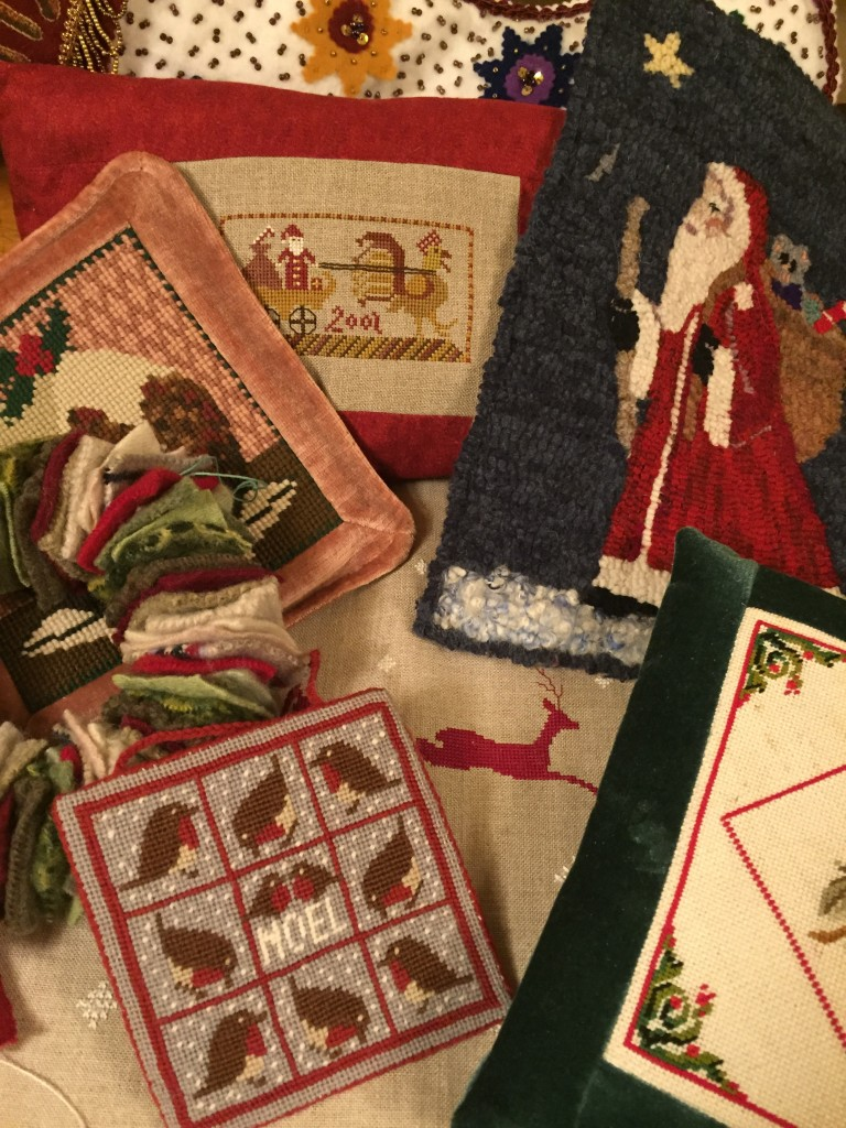 Some Christmas themed stitched pieces.