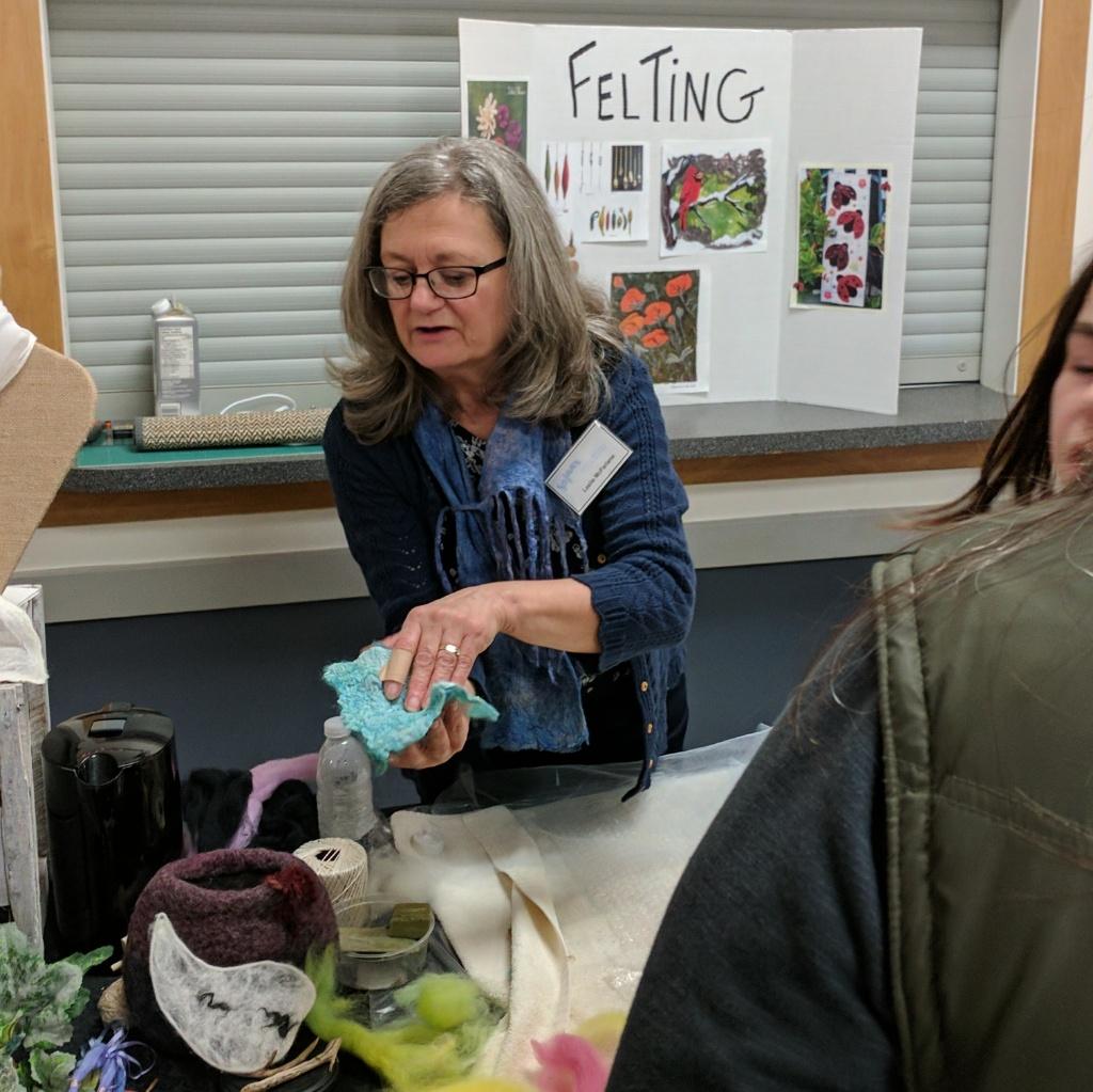 Leslie demonstrating wet felting