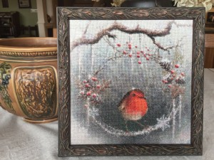 Cross-stitch framed at Frames on James 2018.