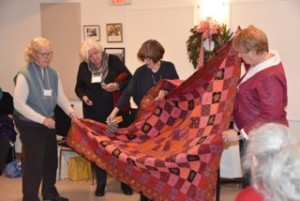 The silk quilt won by Françoise Trottier.