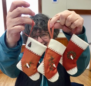Céleste made more Christmas stockings.