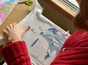Ann Marie's Bluenose cross stitch taking shape.